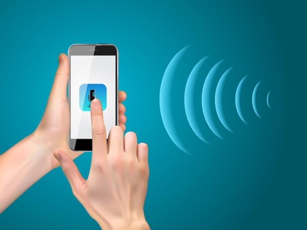 Handheld smartphone met realistische microfoonknop