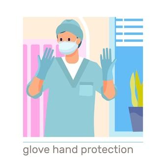 Handhygiëne platte samenstelling met arts die beschermende medische handschoenen en masker draagt
