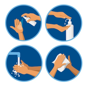 Handhygiënische procedures. sanitizer-spray, vloeibare zeep, handen wassen, afnemen met een antibacterieel doekje.