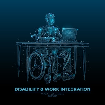 Handicap en werkintegratie laag poly draadframe bannermalplaatje. mensen met een handicap carrièremogelijkheden poster veelhoekige ontwerp. gehandicapte freelancer 3d mesh-kunst met verbonden stippen