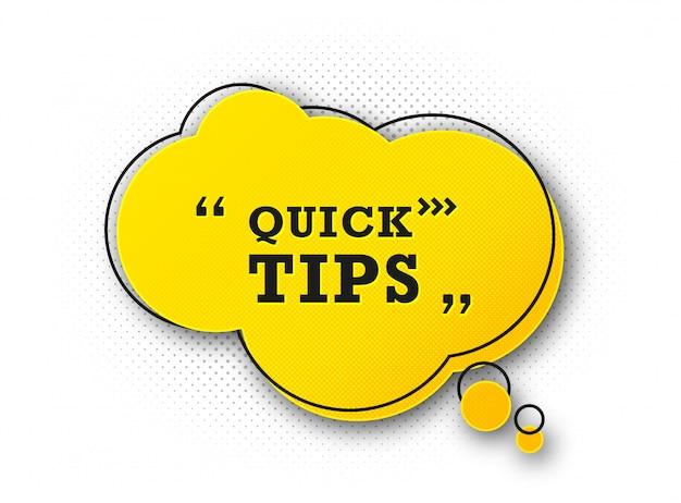 Handige snelle tip. truc die advies en hulp suggereert