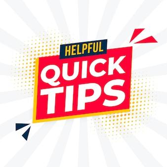 Handige snelle tips achtergrond voor ondersteuning en hint