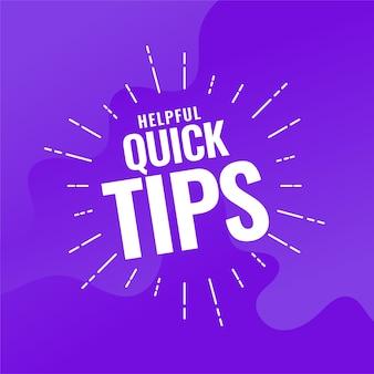 Handige snelle tips paarse achtergrond
