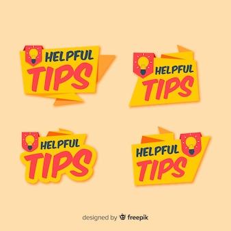 Handige tips banners collectie met gloeilampen