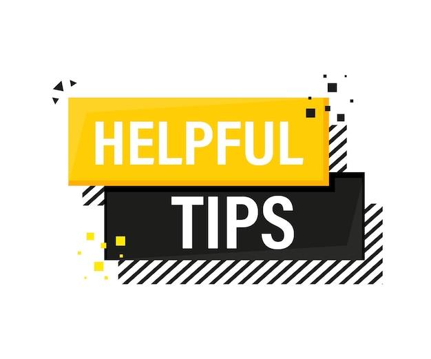 Handige tips megafoon gele banner in 3d-stijl op wit