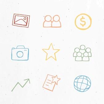 Handige zakelijke pictogrammenset voor marketing