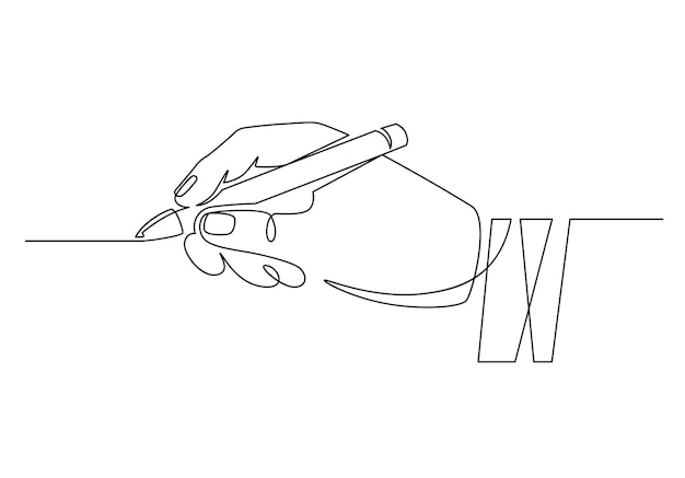 Handje met stift. continu één regel zakenman hand met potlood en rechte lijn schrijven. minimaal handschriftlijnconcept. werknemer ondertekening contract, handtekening zetten, schrijven of tekenen