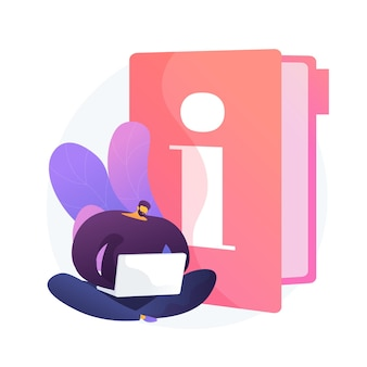 Handleiding. slimme man met laptop studeren handboek, stripfiguur lezen gids. gebruik termen, handleiding, digitale documentatie.
