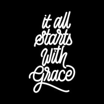 Handlettering-typografie begint met genade