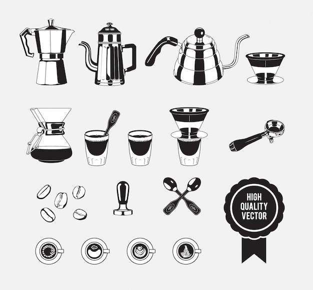 Handmatige koffiezetter vintage zwart en wit