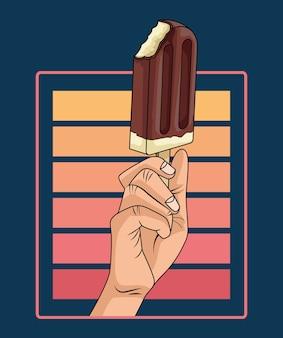 Handmens met ijs in pop-artstijl van de stok