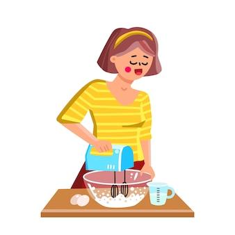Handmixer keukenapparatuur met behulp van meisje vector. jonge vrouw koken en gebruik elektronische apparaat mixer. karakter cook chef bereiden heerlijke maaltijd of bakkerij pie flat cartoon illustration