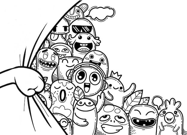 Handopening gordijn met grappige monster groep
