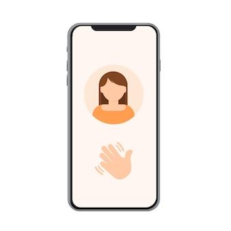 Handpictogram op telefoon hallo hallo zwaai met uw hand schone handen bewegende hand stop bewegende handpictogram