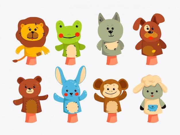 Handpoppen. poppen voor kindertheater, voorstelling voor kinderen.