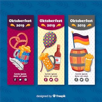 Handr getekend oktoberfest banners sjabloon