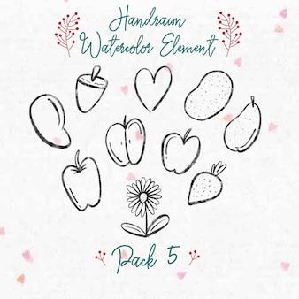 Handrawn watercolor autumn element pack 5