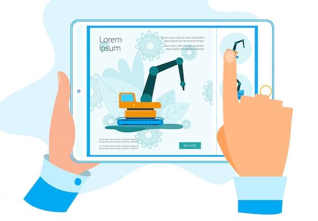 Hands-tablet met app voor het kopen van bouwmachines