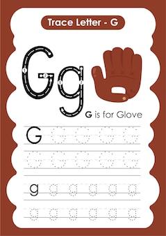 Handschoen traceerlijnen oefenwerkblad voor schrijven en tekenen voor kinderen
