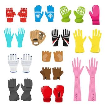 Handschoen vector wollen kerst wanten en beschermende paar handschoenen illustratie set