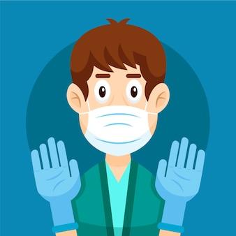 Handschoenen ter bescherming illustratie