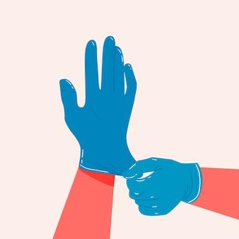 Handschoenen voor bescherming concept