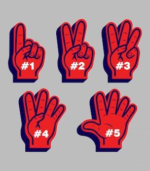 Handschoenen voor sportfans die van nummer één tot vijf tellen.