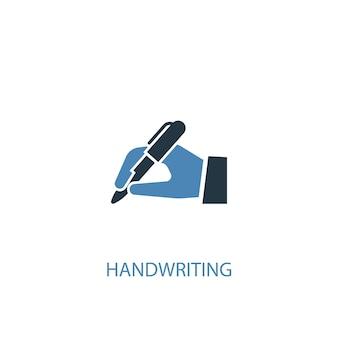 Handschrift concept 2 gekleurd pictogram. eenvoudige blauwe elementenillustratie. handschrift symbool conceptontwerp. kan worden gebruikt voor web- en mobiele ui/ux