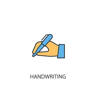 Handschrift concept 2 gekleurde lijn pictogram. eenvoudige gele en blauwe elementenillustratie. handschrift concept schets symbool ontwerp