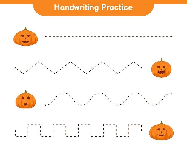 Handschrift oefenblad, educatief kinderspel, afdrukbaar werkblad, illustratie