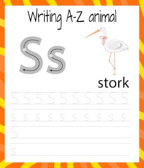 Handschrift oefenblad. eenvoudig schrijven. educatief spel voor kinderen. de letters van het engelse alfabet leren voor kinderen. brieven schrijven