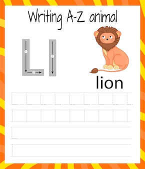 Handschrift oefenblad. eenvoudig schrijven. educatief spel voor kinderen. leren van de letters van het engelse alfabet voor kinderen. brief schrijven l