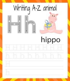 Handschrift oefenblad. eenvoudig schrijven. educatief spel voor kinderen.