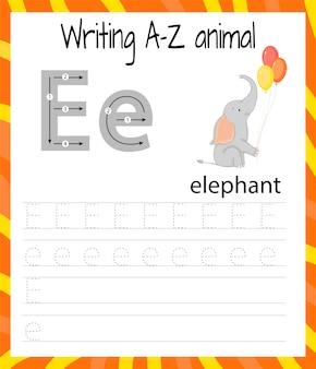 Handschrift oefenblad. eenvoudig schrijven. het leren van de letters van het engelse alfabet