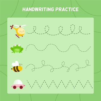 Handschrift oefenblad voor kinderen met schattige elementen