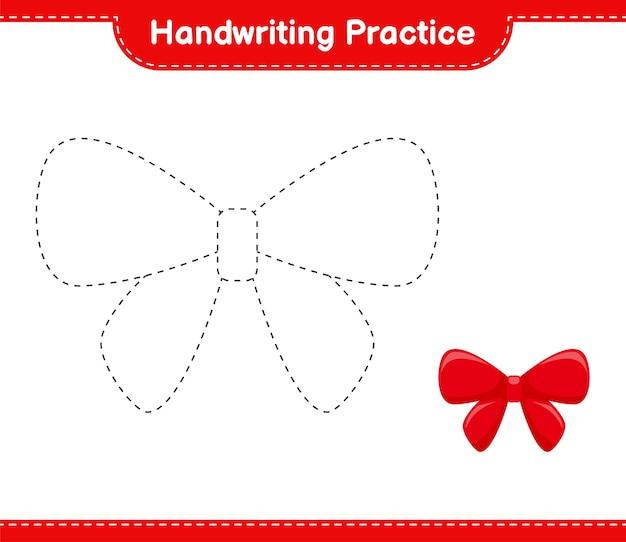 Handschrift oefenen. lijnen van linten traceren. educatief kinderspel, afdrukbaar werkblad