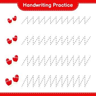 Handschrift oefenen. lijnen van wanten traceren. educatief kinderspel, afdrukbaar werkblad