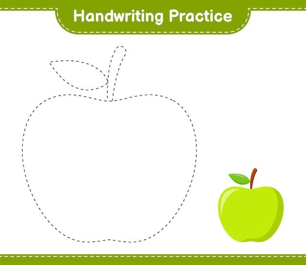 Handschrift oefenen. traceringslijnen van apple. educatief kinderspel, afdrukbaar werkblad