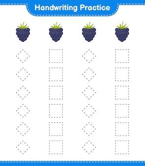 Handschrift oefenen. traceringslijnen van bramen. educatief kinderspel, afdrukbaar werkblad