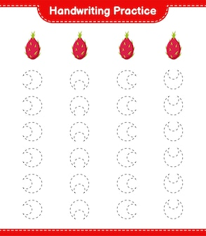 Handschrift oefenen. traceringslijnen van dragon fruit. educatief kinderspel, afdrukbaar werkblad