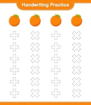 Handschrift oefenen. traceringslijnen van oranje. educatief kinderspel, afdrukbaar werkblad