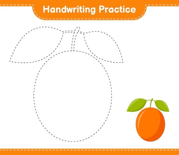 Handschrift oefenen. traceringslijnen van ximenia. educatief kinderspel, afdrukbaar werkblad