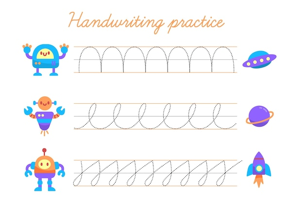 Handschrift oefensjabloon Gratis Vector