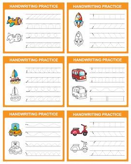 Handschrift praktijk blad illustratie