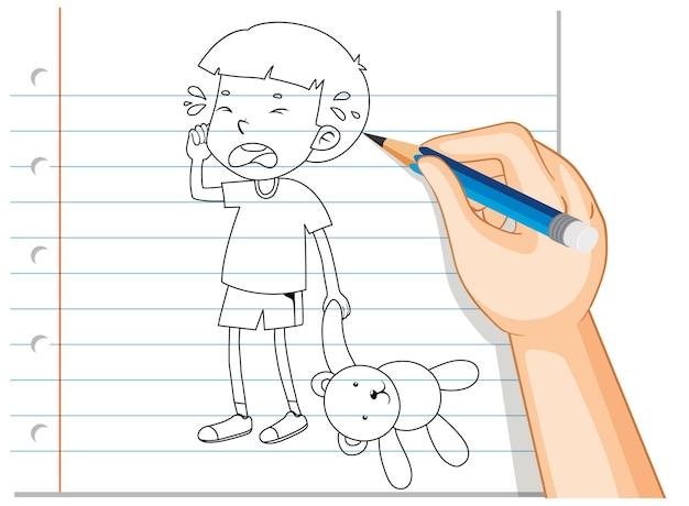 Handschrift van jongen huilen met teddybeer omtrek