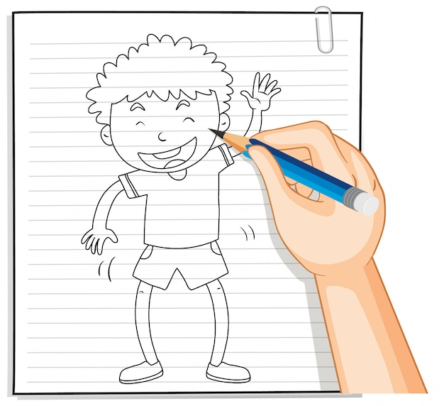 Handschrift van jongen met groet poseren