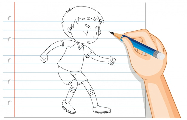 Handschrift van jongen voetballen overzicht