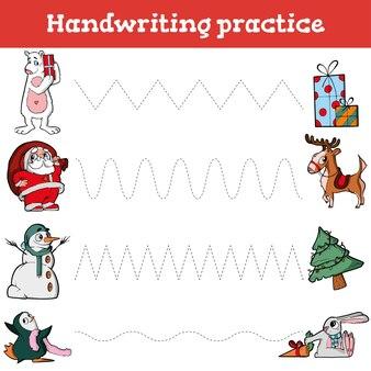 Handschriftoefenblad educatief spel voor kinderen herstel de gestippelde handschriftoefening