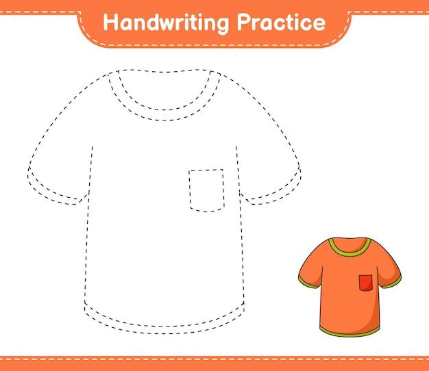 Handschriftoefening lijnen traceren van tshirt educatief kinderspel afdrukbaar werkblad