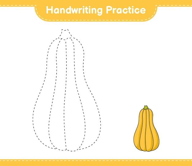 Handschriftoefening lijnen van butternut squash traceren educatief kinderspel